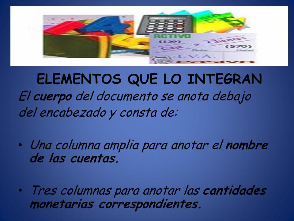 ELEMENTOS QUE LO INTEGRAN El cuerpo del documento se anota debajo del encabezado y consta de: Una columna amplia para anotar el nombre de las cuentas.