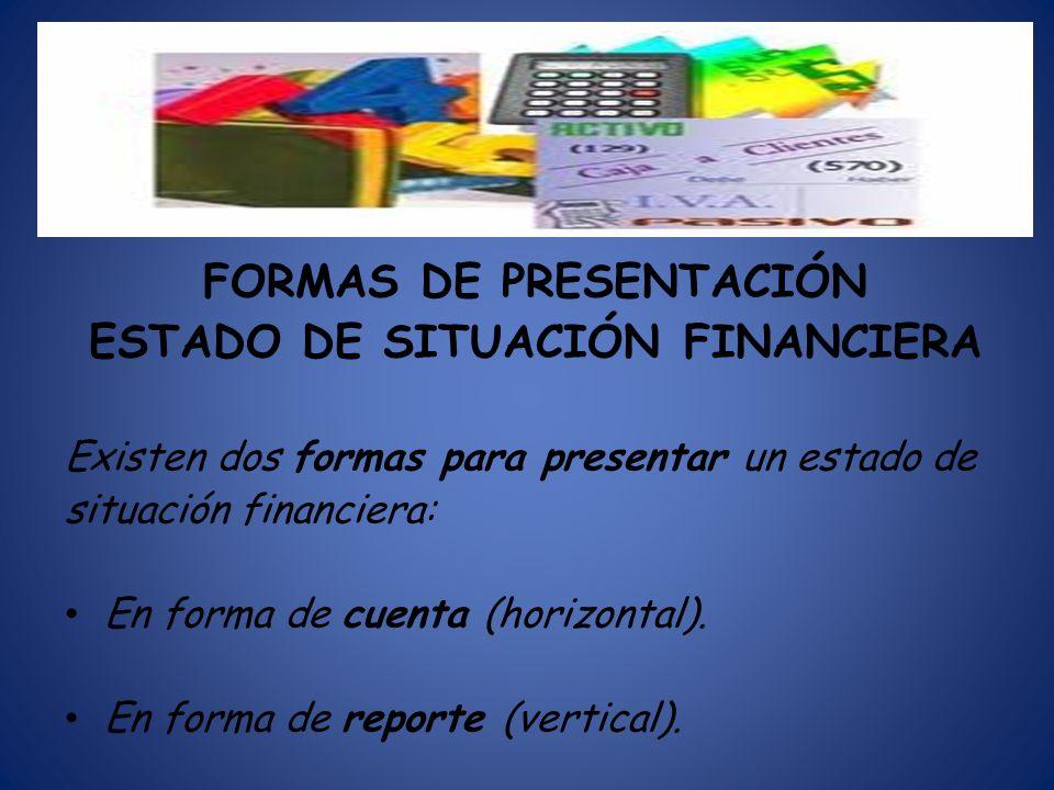 FORMAS DE PRESENTACIÓN ESTADO DE SITUACIÓN FINANCIERA Existen dos formas para presentar un estado de situación financiera: En forma de cuenta (horizon