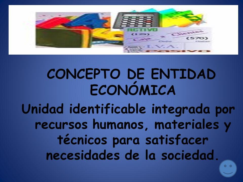 CONCEPTO DE ENTIDAD ECONÓMICA Unidad identificable integrada por recursos humanos, materiales y técnicos para satisfacer necesidades de la sociedad.
