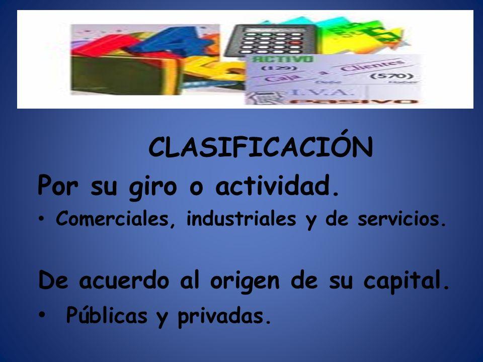 CLASIFICACIÓN Por su giro o actividad. Comerciales, industriales y de servicios. De acuerdo al origen de su capital. Públicas y privadas.