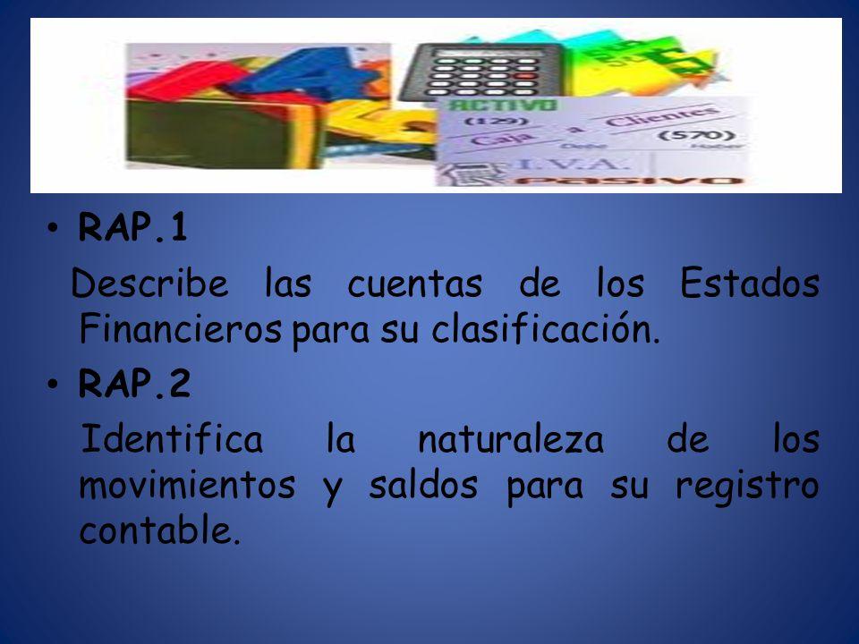 RAP.1 Describe las cuentas de los Estados Financieros para su clasificación. RAP.2 Identifica la naturaleza de los movimientos y saldos para su regist