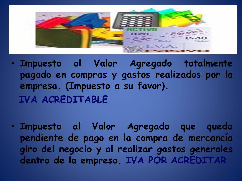 Impuesto al Valor Agregado totalmente pagado en compras y gastos realizados por la empresa. (Impuesto a su favor). IVA ACREDITABLE Impuesto al Valor A