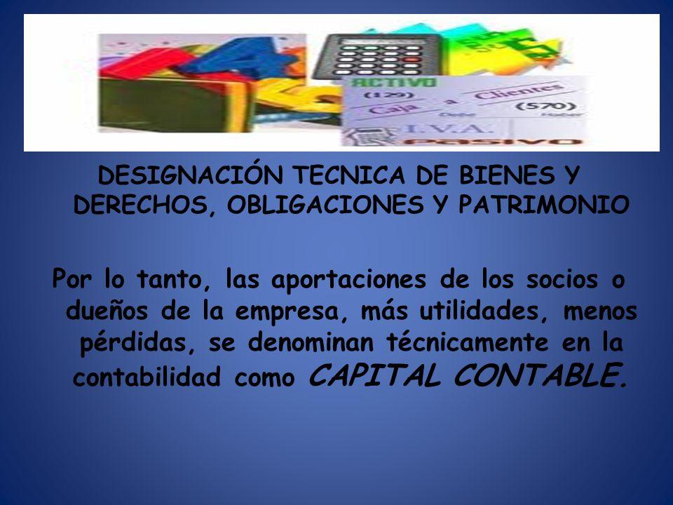 DESIGNACIÓN TECNICA DE BIENES Y DERECHOS, OBLIGACIONES Y PATRIMONIO Por lo tanto, las aportaciones de los socios o dueños de la empresa, más utilidade