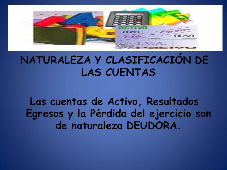 NATURALEZA Y CLASIFICACIÓN DE LAS CUENTAS Las cuentas de Activo, Resultados Egresos y la Pérdida del ejercicio son de naturaleza DEUDORA.