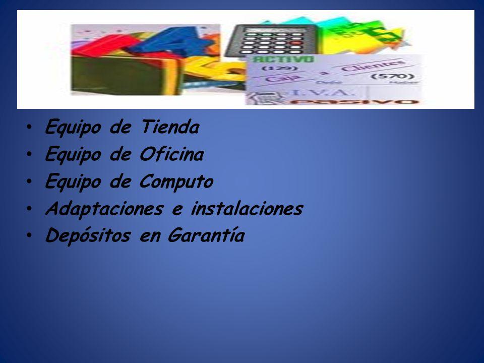 Equipo de Tienda Equipo de Oficina Equipo de Computo Adaptaciones e instalaciones Depósitos en Garantía