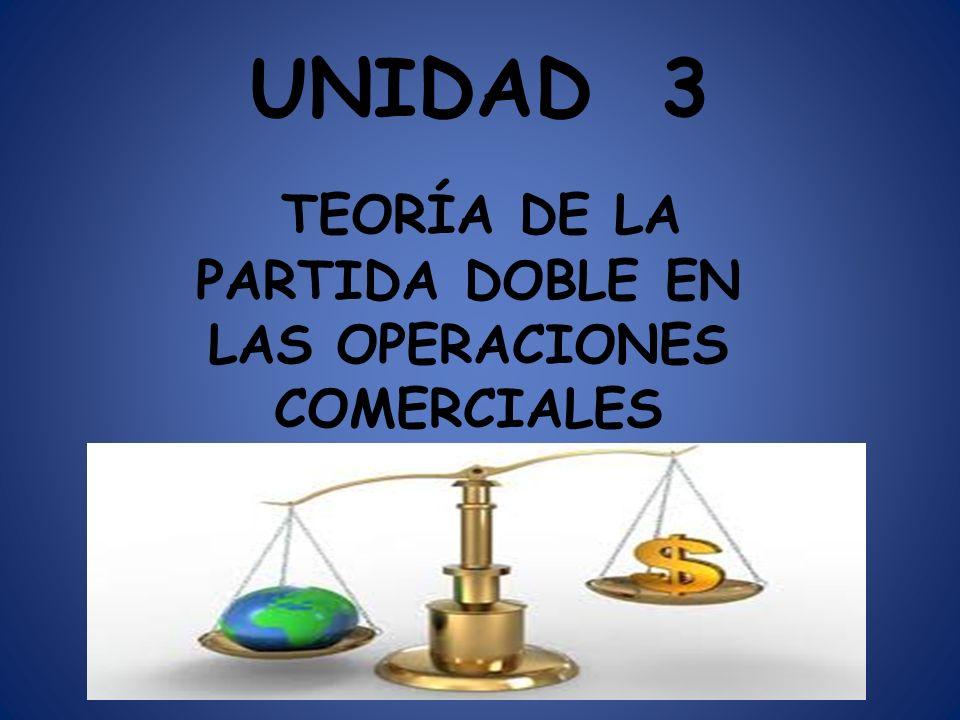 UNIDAD 3 TEORÍA DE LA PARTIDA DOBLE EN LAS OPERACIONES COMERCIALES