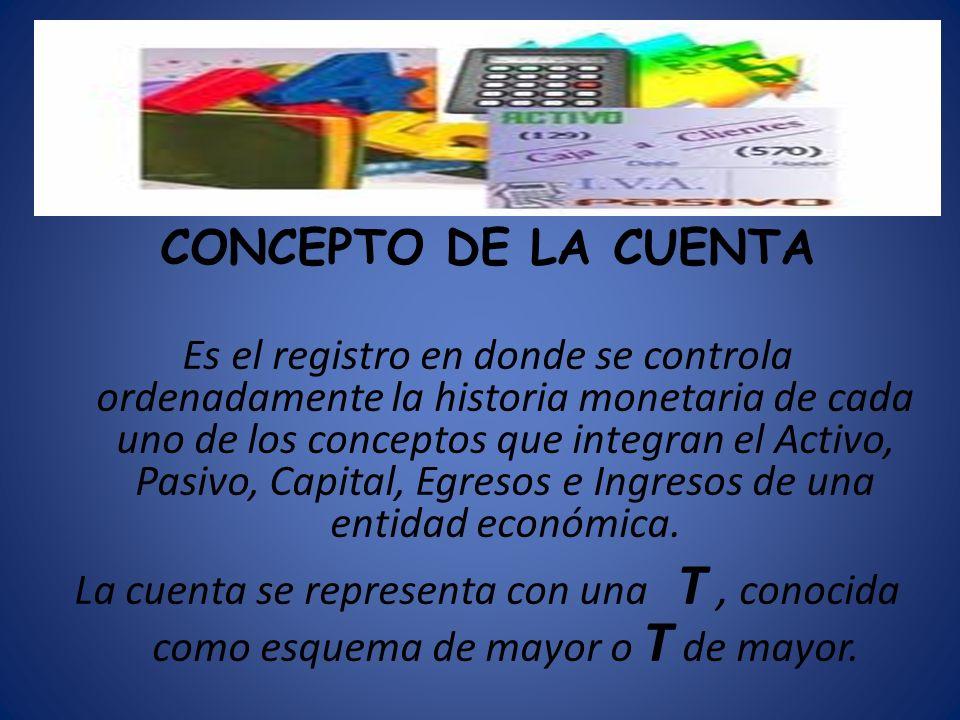 CONCEPTO DE LA CUENTA Es el registro en donde se controla ordenadamente la historia monetaria de cada uno de los conceptos que integran el Activo, Pas