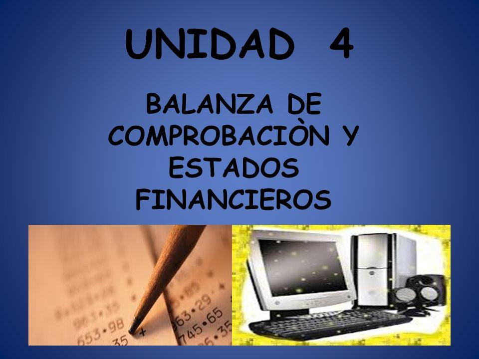 UNIDAD 4 BALANZA DE COMPROBACIÒN Y ESTADOS FINANCIEROS