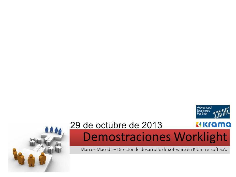 Demostraciones Worklight Marcos Maceda – Director de desarrollo de software en Krama e-soft S.A. 29 de octubre de 2013