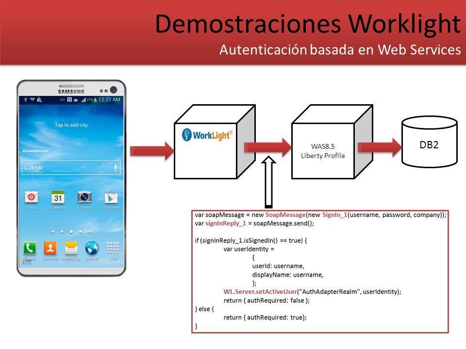 Demostraciones Worklight Autenticación basada en Web Services Demostraciones Worklight Autenticación basada en Web Services DB2 WAS8.5 Liberty Profile