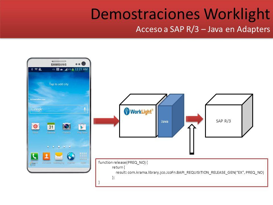Demostraciones Worklight Acceso a SAP R/3 – Java en Adapters Demostraciones Worklight Acceso a SAP R/3 – Java en Adapters SAP R/3 Java function releas