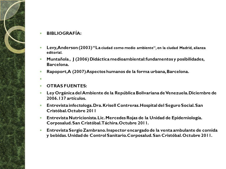 BIBLIOGRAFÍA: Levy, Anderson (2003) La ciudad como medio ambiente, en la ciudad Madrid, alianza editorial. Muntañola, J (2006) Didáctica medioambienta