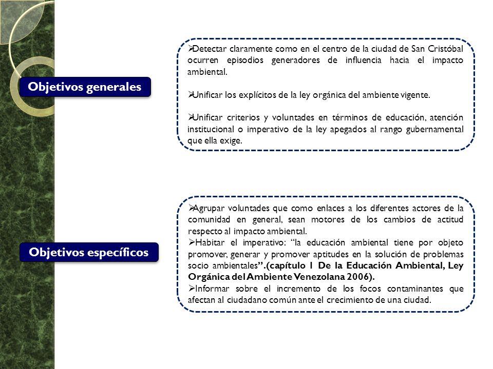 Objetivos generales Detectar claramente como en el centro de la ciudad de San Cristóbal ocurren episodios generadores de influencia hacia el impacto a