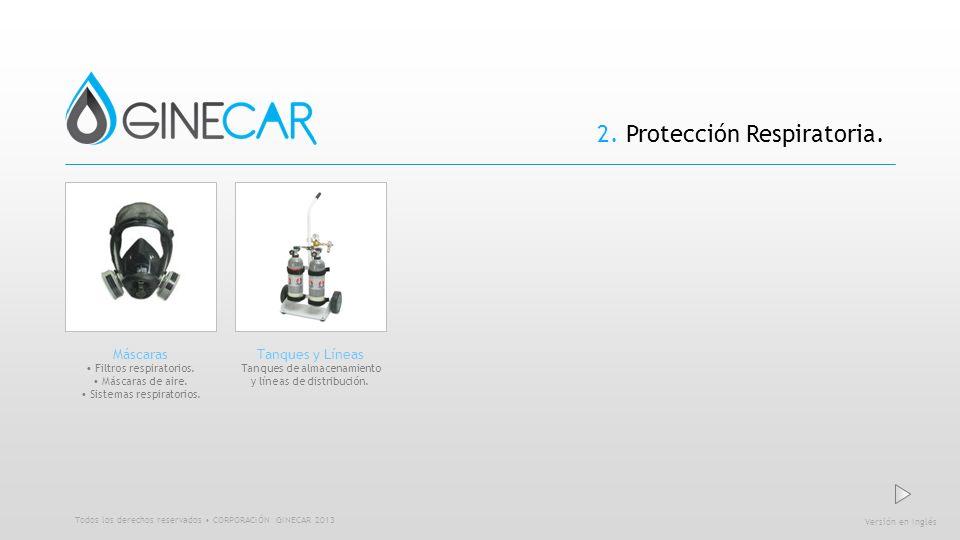 2. Protección Respiratoria. Versión en Inglés Todos los derechos reservados CORPORACIÓN GINECAR 2013 Máscaras Filtros respiratorios. Máscaras de aire.