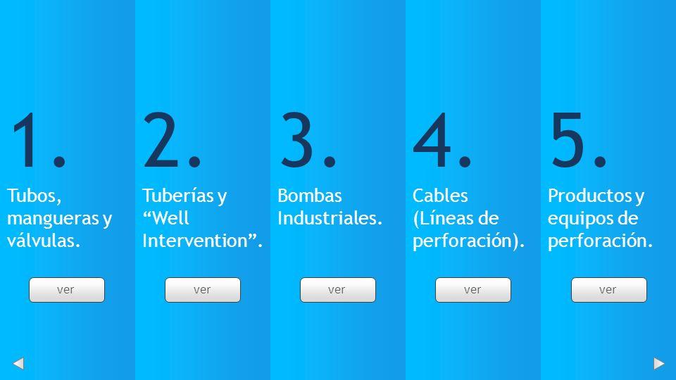 1. Tubos, mangueras y válvulas. 2. Tuberías y Well Intervention. 3. Bombas Industriales. 4. Cables (Líneas de perforación). 5. Productos y equipos de