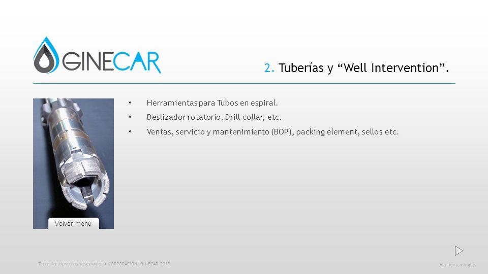 2. Tuberías y Well Intervention. Herramientas para Tubos en espiral. Deslizador rotatorio, Drill collar, etc. Ventas, servicio y mantenimiento (BOP),