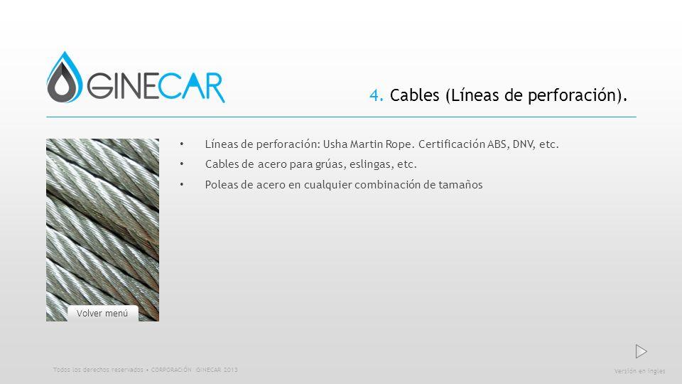 4. Cables (Líneas de perforación). Líneas de perforación: Usha Martin Rope. Certificación ABS, DNV, etc. Cables de acero para grúas, eslingas, etc. Po