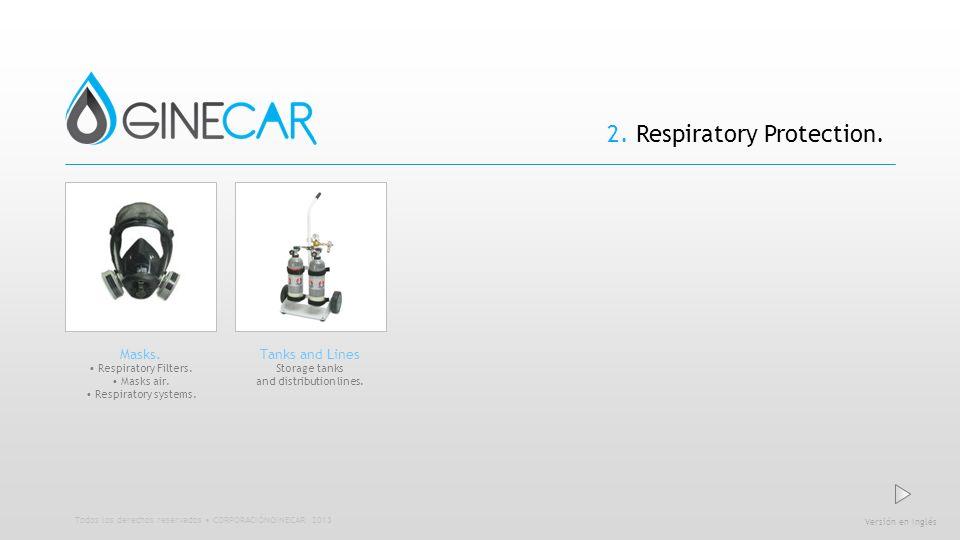 2. Respiratory Protection. Versión en Inglés Todos los derechos reservados CORPORACIÓNGINECAR 2013 Masks. Respiratory Filters. Masks air. Respiratory
