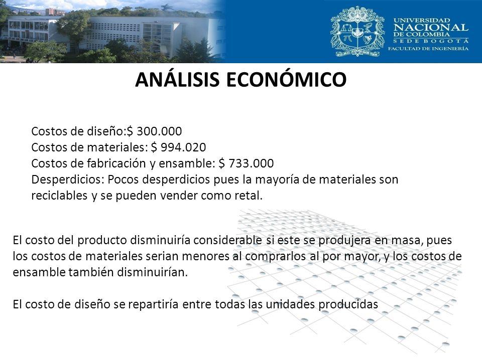 ANÁLISIS ECONÓMICO Costos de diseño:$ 300.000 Costos de materiales: $ 994.020 Costos de fabricación y ensamble: $ 733.000 Desperdicios: Pocos desperdi