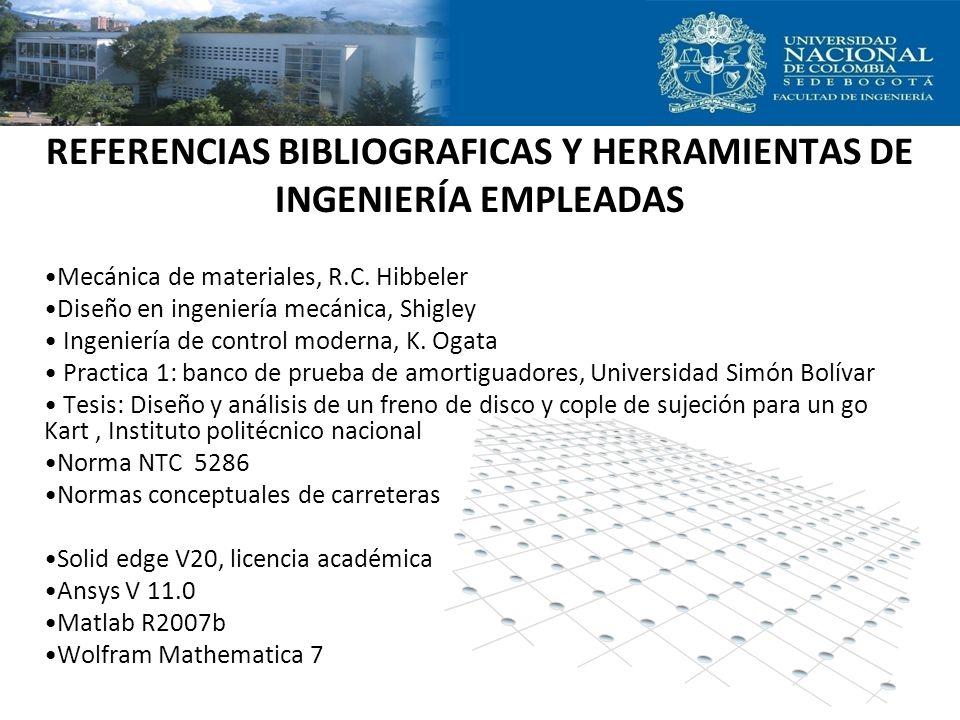REFERENCIAS BIBLIOGRAFICAS Y HERRAMIENTAS DE INGENIERÍA EMPLEADAS Mecánica de materiales, R.C. Hibbeler Diseño en ingeniería mecánica, Shigley Ingenie