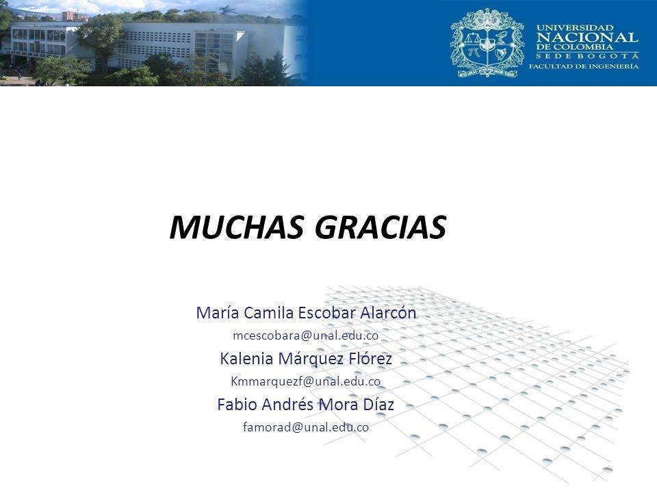 MUCHAS GRACIAS María Camila Escobar Alarcón mcescobara@unal.edu.co Kalenia Márquez Flórez Kmmarquezf@unal.edu.co Fabio Andrés Mora Díaz famorad@unal.e