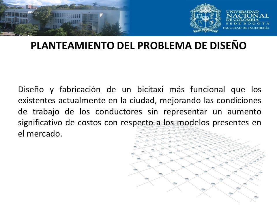 PLANTEAMIENTO DEL PROBLEMA DE DISEÑO Diseño y fabricación de un bicitaxi más funcional que los existentes actualmente en la ciudad, mejorando las cond