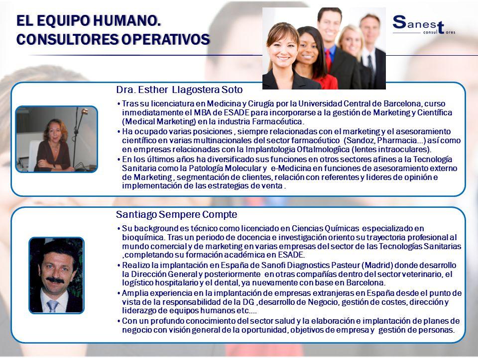 EL EQUIPO HUMANO. CONSULTORES OPERATIVOS Dra. Esther Llagostera Soto Tras su licenciatura en Medicina y Cirugía por la Universidad Central de Barcelon