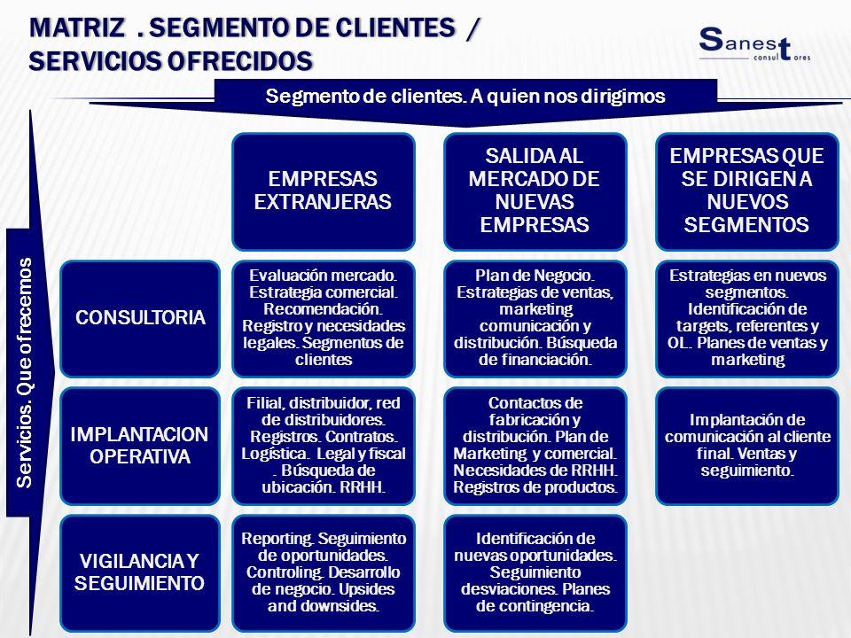 MATRIZ. SEGMENTO DE CLIENTES / SERVICIOS OFRECIDOS CONSULTORIA IMPLANTACION OPERATIVA VIGILANCIA Y SEGUIMIENTO EMPRESAS EXTRANJERAS Evaluación mercado