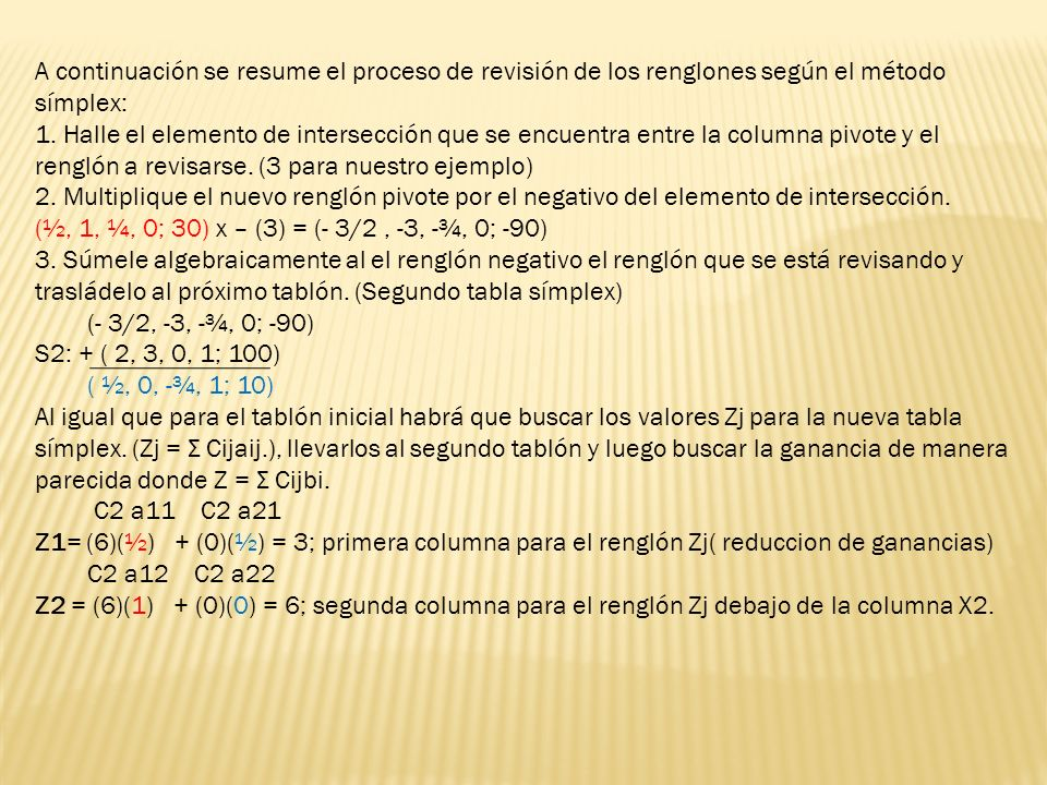A continuación se resume el proceso de revisión de los renglones según el método símplex: 1. Halle el elemento de intersección que se encuentra entre