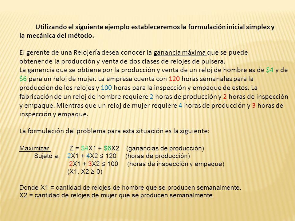 La primera restricción se reformula asignándole una variable de holgura (diferencia ) Para poder hacer el cambio de la desigualdad a igualdad tendremos que añadir la variable que absorba la diferencia entre ambos lados positiva conocida como S1, la que aparecerá de la siguiente forma: 2X1 + 4X2 + S1 =120.