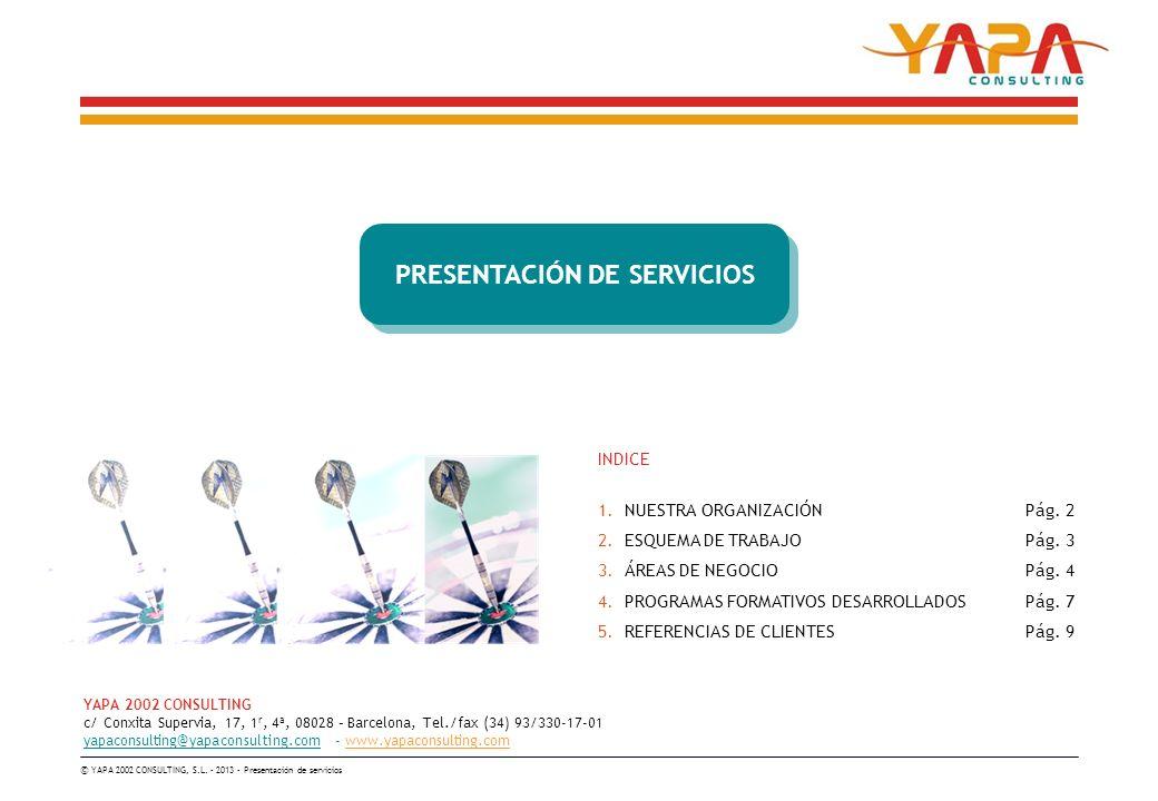 YAPA 2002 CONSULTING c/ Conxita Supervia, 17, 1 r, 4ª, 08028 – Barcelona, Tel./fax (34) 93/330-17-01 yapaconsulting@yapaconsulting.com - www.yapaconsulting.com © YAPA 2002 CONSULTING, S.L.