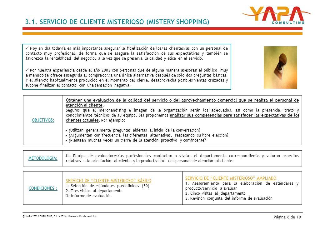 © YAPA 2002 CONSULTING, S.L. – 2013 – Presentación de servicios Página 6 de 10 3.1.