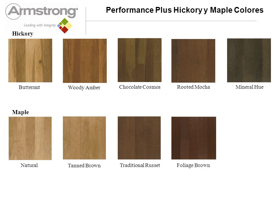 Performance Plus Hickory y Maple Colores Butternut Woody Amber Chocolate Cosmos Rooted Mocha Mineral Hue Natural Tanned Brown Traditional Russet Folia