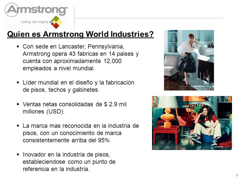 Armstrong Global Capacity Capacidad de 28 millones de metros cuadrados anuales en las 12 fabricas propias de Armstrong 7 Fabricas de Duela Solida– E.U.A.