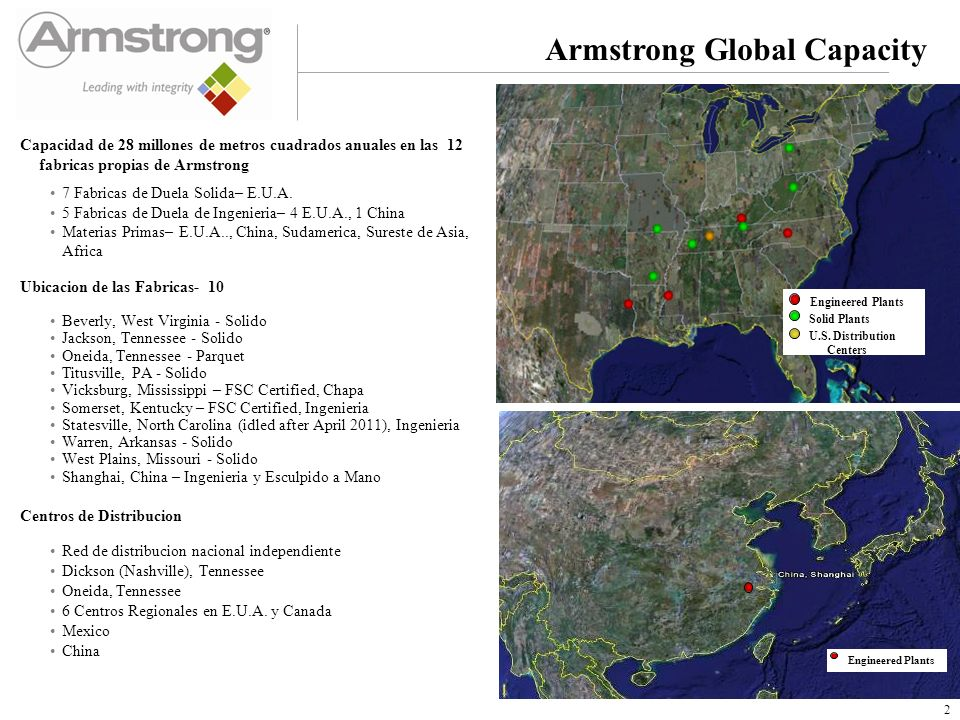 Armstrong Global Capacity Capacidad de 28 millones de metros cuadrados anuales en las 12 fabricas propias de Armstrong 7 Fabricas de Duela Solida– E.U