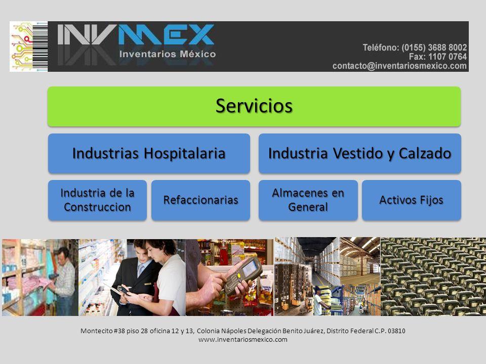 Servicios Industrias Hospitalaria Industria de la Construccion Refaccionarias Industria Vestido y Calzado Almacenes en General Activos Fijos Montecito