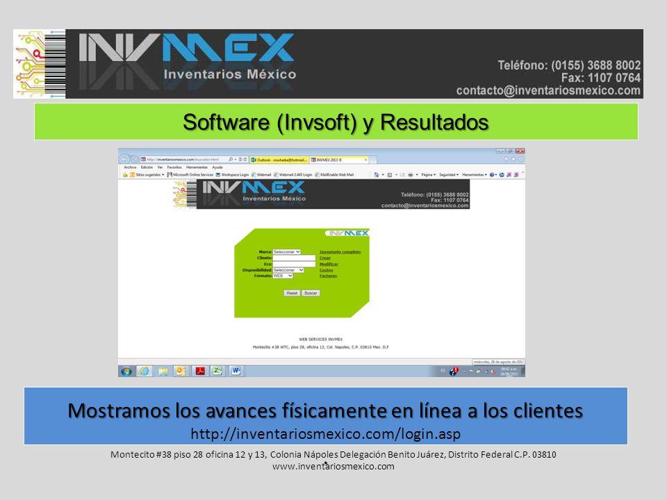 Software (Invsoft) y Resultados Montecito #38 piso 28 oficina 12 y 13, Colonia Nápoles Delegación Benito Juárez, Distrito Federal C.P.