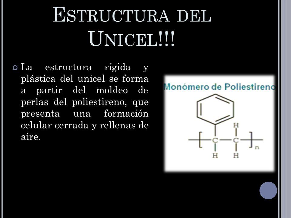 E STRUCTURA DEL U NICEL !!! La estructura rígida y plástica del unicel se forma a partir del moldeo de perlas del poliestireno, que presenta una forma