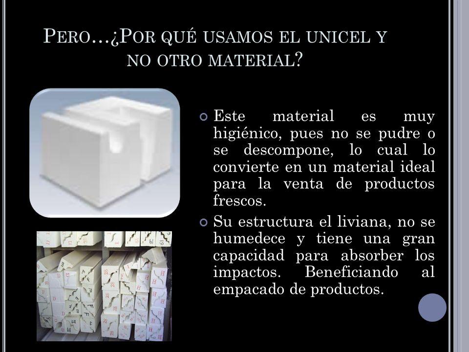 P ERO …¿P OR QUÉ USAMOS EL UNICEL Y NO OTRO MATERIAL ? Este material es muy higiénico, pues no se pudre o se descompone, lo cual lo convierte en un ma