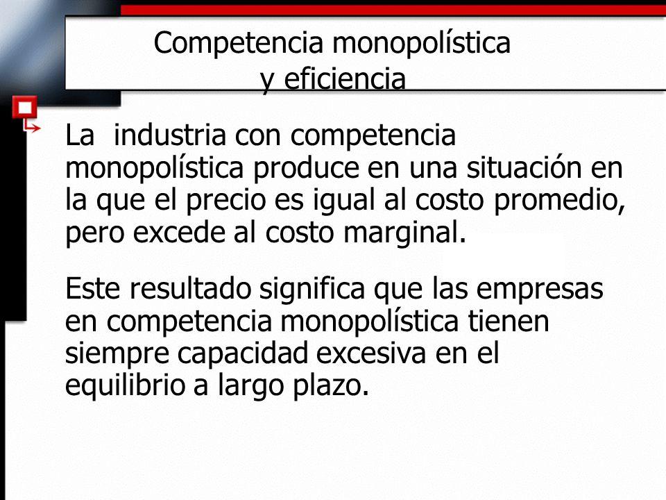 Competencia monopolística y eficiencia La industria con competencia monopolística produce en una situación en la que el precio es igual al costo prome