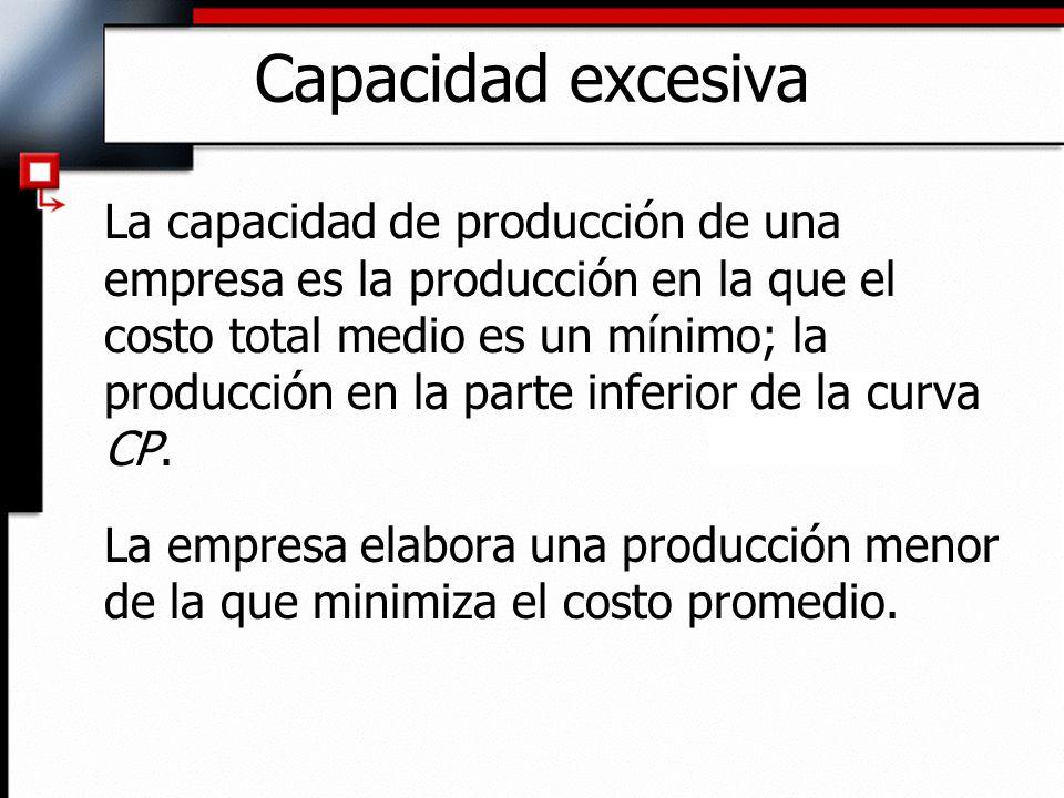 Capacidad excesiva La capacidad de producción de una empresa es la producción en la que el costo total medio es un mínimo; la producción en la parte i