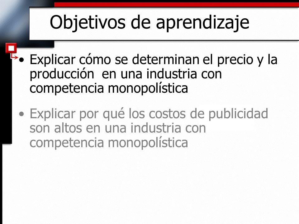 Objetivos de aprendizaje Explicar cómo se determinan el precio y la producción en una industria con competencia monopolística Explicar por qué los cos