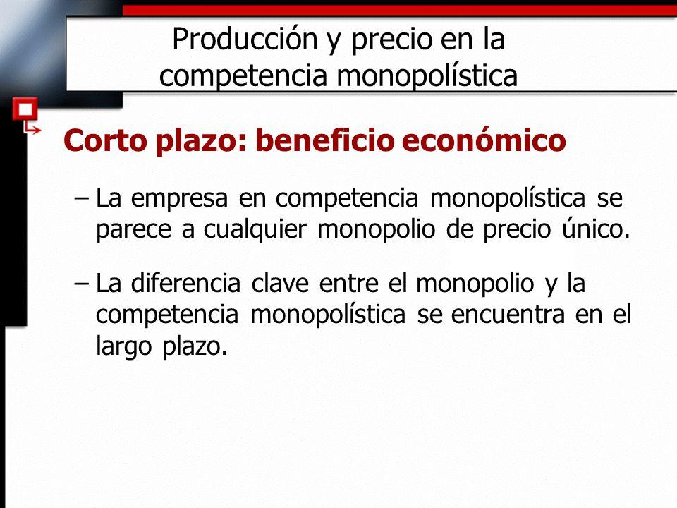 Producción y precio en la competencia monopolística Corto plazo: beneficio económico –La empresa en competencia monopolística se parece a cualquier mo