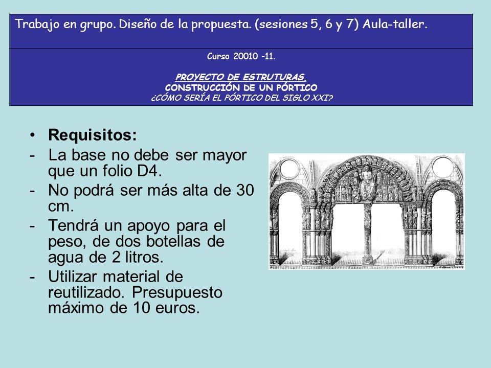 Requisitos: - La base no debe ser mayor que un folio D4.