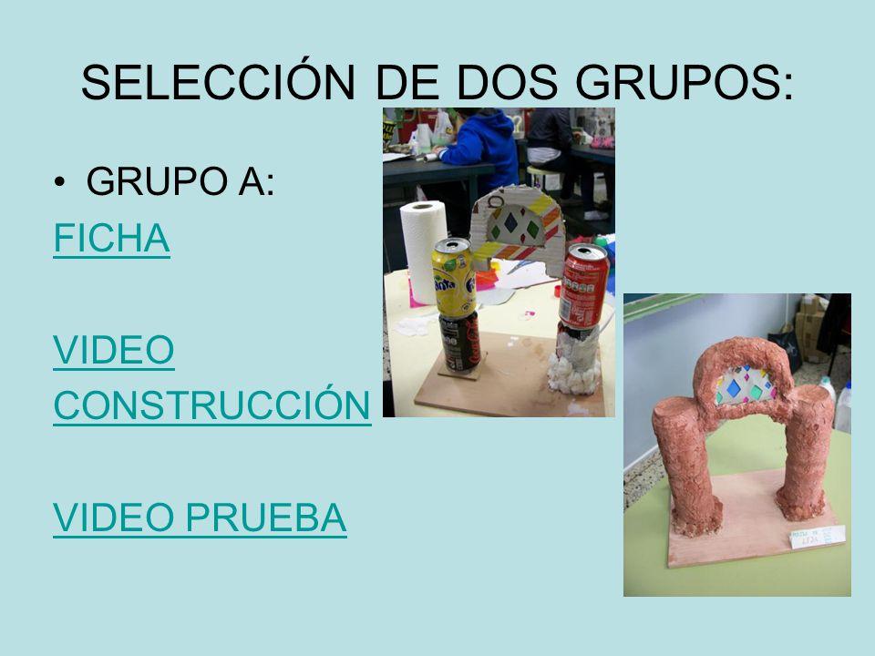 SELECCIÓN DE DOS GRUPOS: GRUPO A: FICHA VIDEO CONSTRUCCIÓN VIDEO PRUEBA