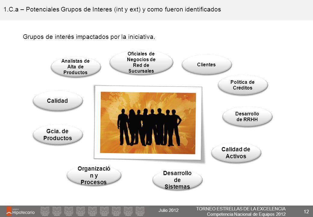 TORNEO ESTRELLAS DE LA EXCELENCIA Competencia Nacional de Equipos 2012 Julio 2012 1.C.a – Potenciales Grupos de Interes (int y ext) y como fueron iden