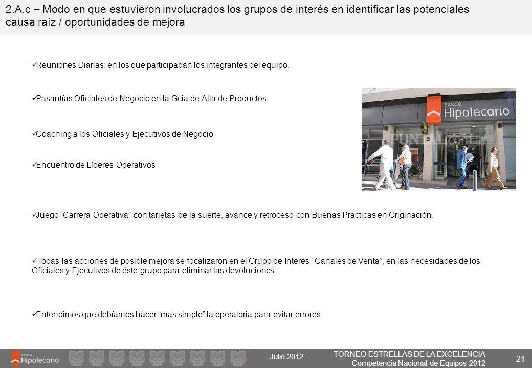 TORNEO ESTRELLAS DE LA EXCELENCIA Competencia Nacional de Equipos 2012 Julio 2012 2.A.c – Modo en que estuvieron involucrados los grupos de interés en