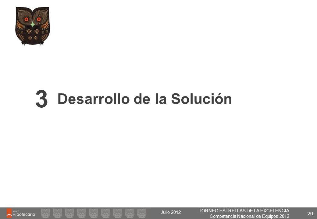 TORNEO ESTRELLAS DE LA EXCELENCIA Competencia Nacional de Equipos 2012 Julio 2012 26 Desarrollo de la Solución 3