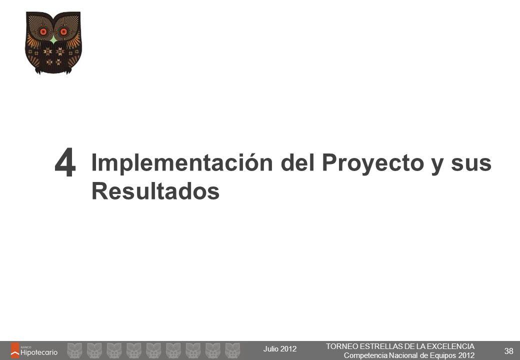 TORNEO ESTRELLAS DE LA EXCELENCIA Competencia Nacional de Equipos 2012 Julio 2012 38 Implementación del Proyecto y sus Resultados 4