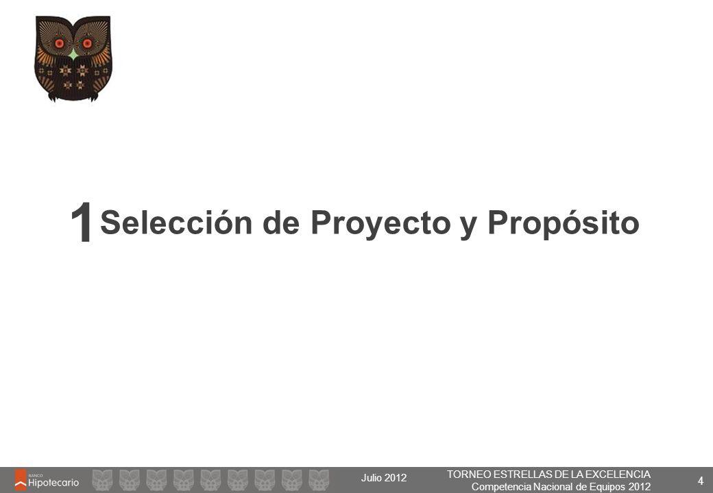 TORNEO ESTRELLAS DE LA EXCELENCIA Competencia Nacional de Equipos 2012 Julio 2012 4 Selección de Proyecto y Propósito 1